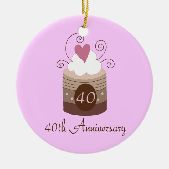 Gift For 40th Wedding Cute Cupcake Ceramic Ornament