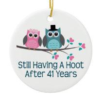Gift For 41st Wedding Anniversary Hoot Ceramic Ornament