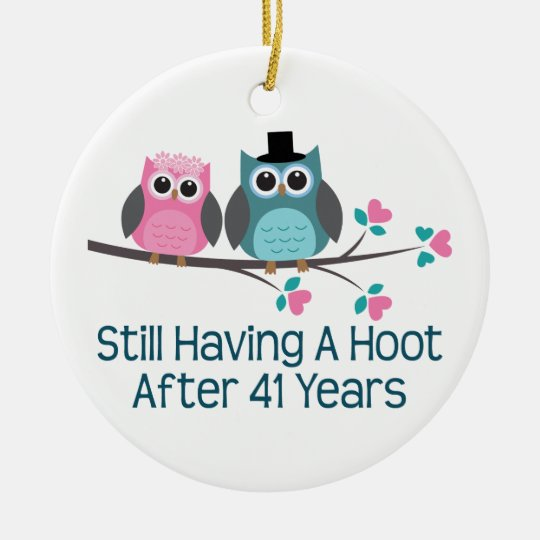 Gift For 41st Wedding Anniversary Hoot Ceramic Ornament