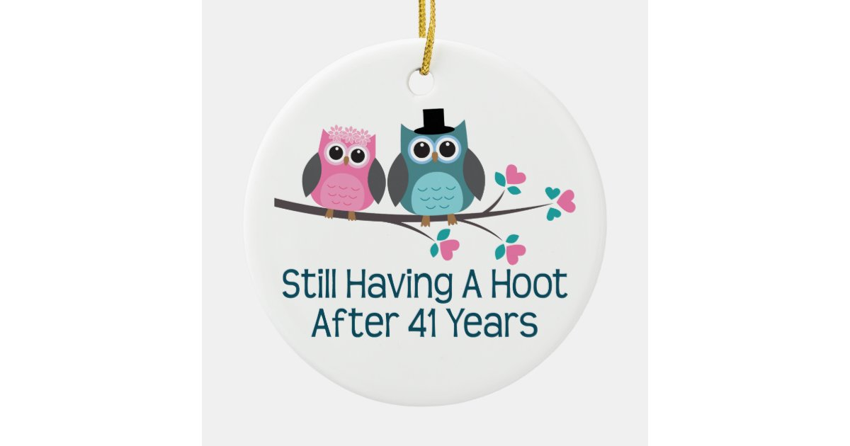 41st Wedding Anniversary Gift: Gift For 41st Wedding Anniversary Hoot Ceramic Ornament