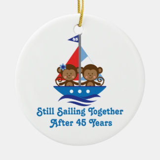 Gift For 45th Wedding Anniversary Monkeys Ceramic Ornament