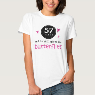 Gift For 57th Wedding Anniversary Butterfly Tee Shirt