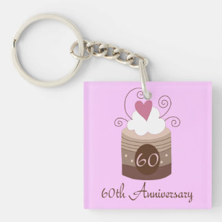 Gift For 60th Wedding Cute Cupcake Single-Sided Square Acrylic Keychain
