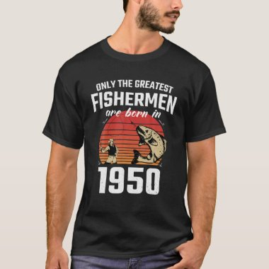 Gift For 71 Year Old: Fishing Fisherman 1950 71Th T-Shirt