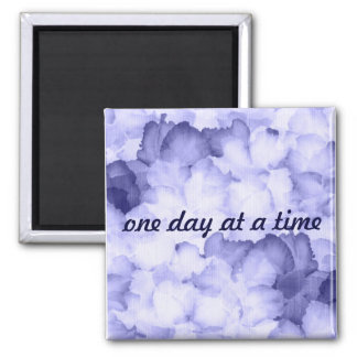 Gift for AA purple magnent One day at a time 2 Inch Square Magnet