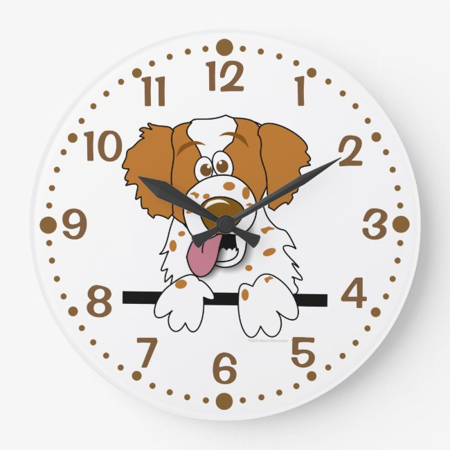Gift for Brittany Dog Lover Clock Cartoon Spaniel