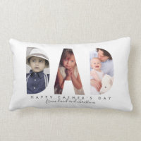 Gift for Father's Day Personalized Photo Collage Lumbar Pillow