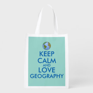 Gift for Geography Lover Teacher Keep Calm Earth Reusable Grocery Bags