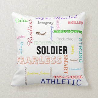 Gift for Soldier Pride Attributes Typography Throw Pillow