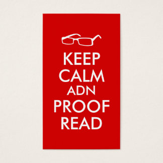 Gift for Writers Keep Calm and Proofread Business Card