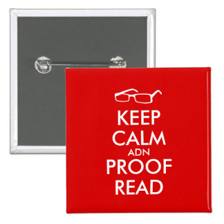 Gift for Writers Keep Calm and Proofread 2 Inch Square Button