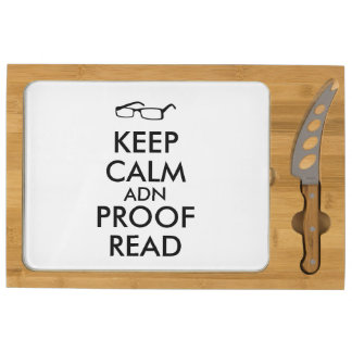 Gift for Writers Keep Calm and Proofread Cheese Platter