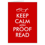 Gift for Writers Keep Calm and Proofread Greeting Card