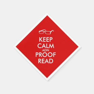 Gift for Writers Keep Calm and Proofread Paper Napkin