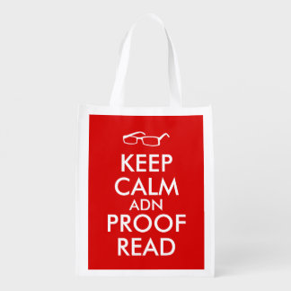 Gift for Writers Keep Calm and Proofread Reusable Grocery Bags