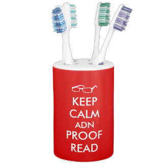 Gift for Writers Keep Calm and Proofread Soap Dispenser & Toothbrush Holder