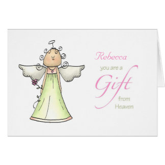 Gift from Heaven, Adoption Anniversary Custom Name Greeting Card