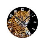 #Gift grande manchado del Gato-amante de Jaguar Reloj Redondo Mediano
