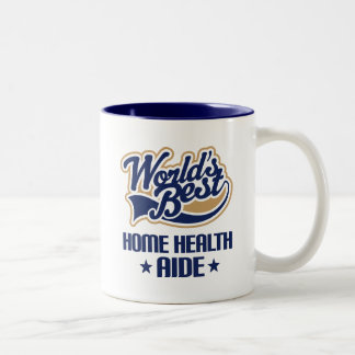 Gift Idea For Home Health Aide (Worlds Best) Two-Tone Coffee Mug