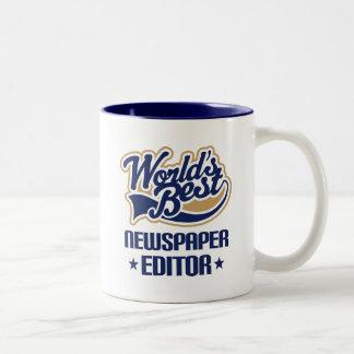 Gift Idea For Newspaper Editor (Worlds Best) Two-Tone Coffee Mug