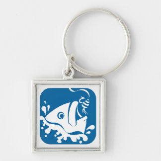 Gift Keychain Sea Blue Wht Fishing Fish Catch Bait