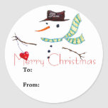 """Gift Label Christmas Snowman Sticker<br><div class=""""desc"""">Snowman art gift label sticker.  Drawn with pen and pencil by hand with """"Merry Christmas"""" text and space for adding names (to and from).</div>"""