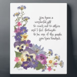 "gift of appreciation plaque<br><div class=""desc"">Beautiful words of appreciation and thanks for anyone who means a great deal to you or has done something wonderful for you. Especially appropriate for teachers, mentors, counselors, nurses and those who make the most difference in our lives. Flower arrangement highlights pansies but also includes asters, larkspur, delphinium, narcissus, scented...</div>"