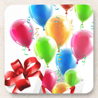 Gift Party Ballons and Streamers Concept Drink Coaster