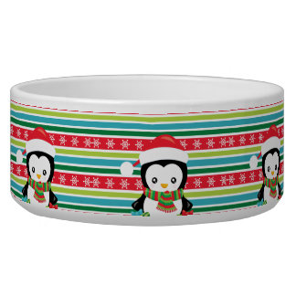 Gift Penguin on striped snowflake background Bowl