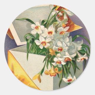 Gift Present Daffodil Jonquil Round Sticker