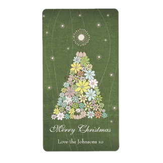 Gift Present Tag Label Flower Christmas Tree