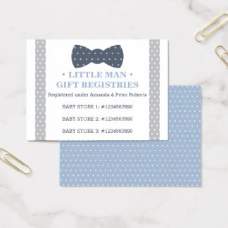 Gift Registry Card, Little Man, Bow Tie Business Card