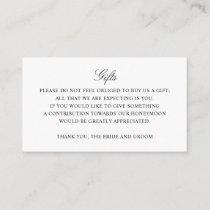 Gift Registry Honeymoon Fund Wedding Monogram Enclosure Card