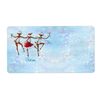 GIFT TAG DANCING REINDEER by SHARON SHARPE Shipping Label