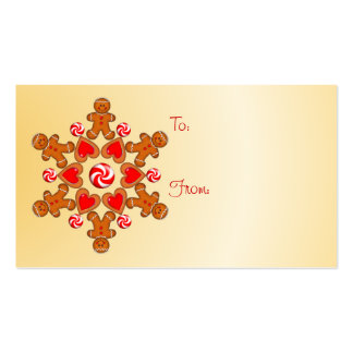 GIFT TAG GINGERBREAD BOY by SHARON SHARPE Double-Sided Standard Business Cards (Pack Of 100)