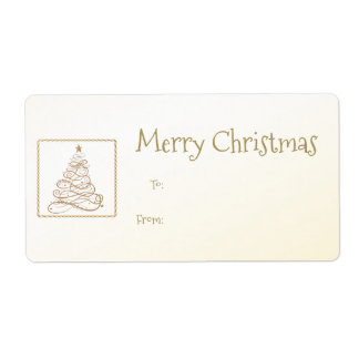 Gift Tag:  Golden Filigree Christmas Tree Label