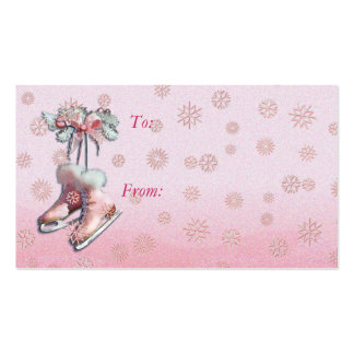 GIFT TAG ICE SKATES in PINK by SHARON SHARPE Double-Sided Standard Business Cards (Pack Of 100)
