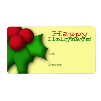 Gift Tag Label Template To/From Mistletoe Holly Shipping Label