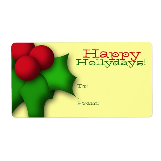 gift tag label template to from mistletoe holly zazzle com