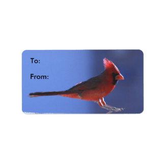Gift Tag Labels: Cardinal Landing Full View