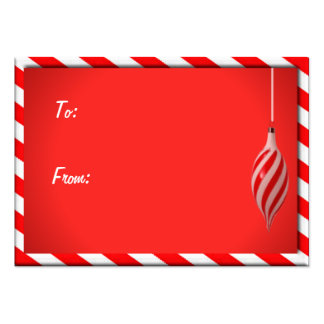 GIFT TAG RED & WHITE STRIPED by SHARON SHARPE Large Business Cards (Pack Of 100)