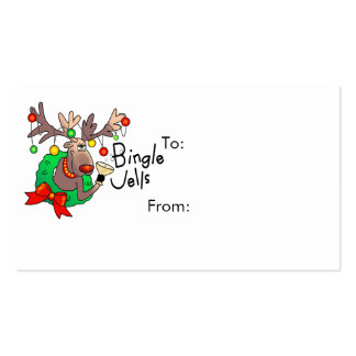 GIFT TAG REINDEER by SHARON SHARPE Double-Sided Standard Business Cards (Pack Of 100)