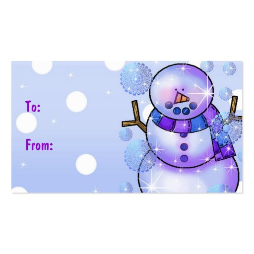 Gift Tag-Snowman Happy Holidays Christmas Business Card Templates