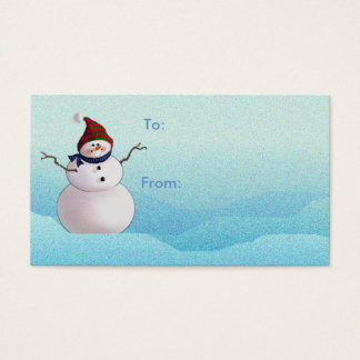 GIFT TAG SNOWMAN & HATS by SHARON SHARPE