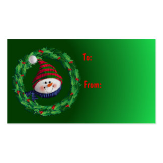 GIFT TAG SNOWMAN & HATS by SHARON SHARPE Double-Sided Standard Business Cards (Pack Of 100)