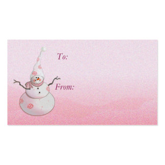 GIFT TAG SNOWMAN & SNOW HAT by SHARON SHARPE Double-Sided Standard Business Cards (Pack Of 100)
