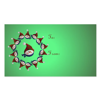 GIFT TAG SNOWMEN & HATS by SHARON SHARPE Double-Sided Standard Business Cards (Pack Of 100)