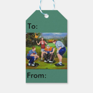 Gift tag with a unique golf scene