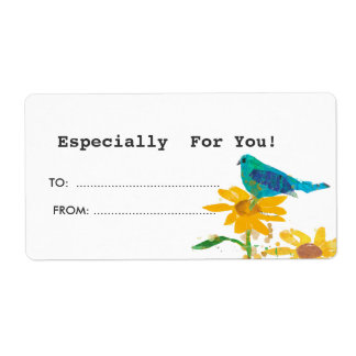 Gift Tag With Blue Bird Label