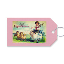 Gift Tag WITH VINTAGE EASTER ILLUSTRATION IN PINK